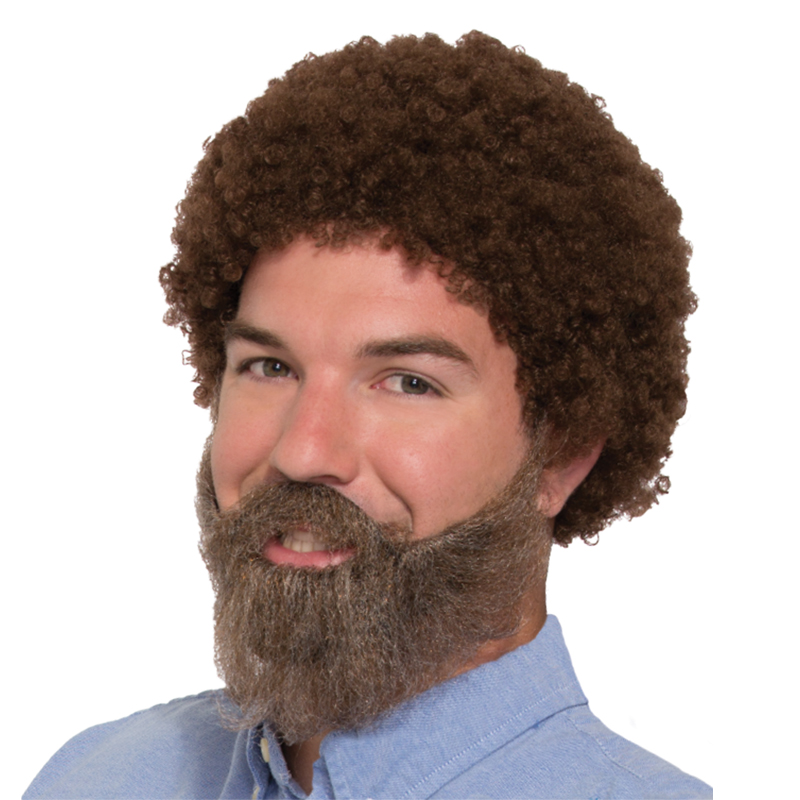 80s Brown Wig and Beard Set with Moustache