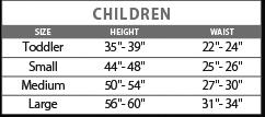Child costume size chart