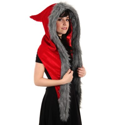 Costume Fur Trimmed Red Riding Hood