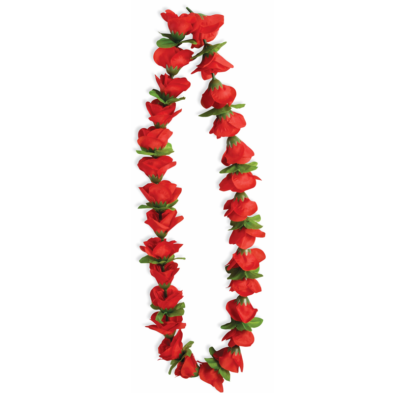 Silk Red Open Rose Lei