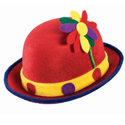 Fabric Clown Derby Hat with Flower