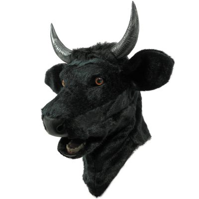 Balck Bull Mask with Moving Mouth