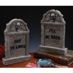 Gray Plastic Desktop Tombstone Halloween Decoration