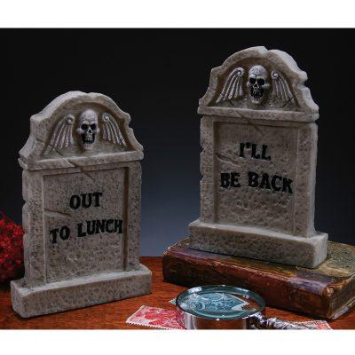 Gray Plastic Desktop Tombstone Halloween Decoration