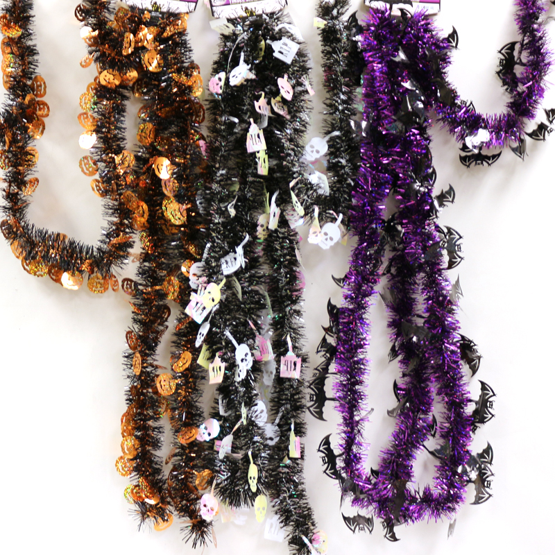 Halloween Vinyl Tinsel Garland with Figures
