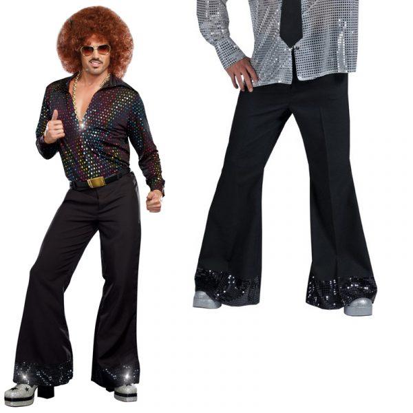 Men's Black Flared Leg Disco Pants