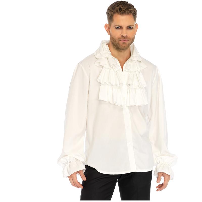 Ruffle Front White Shirt