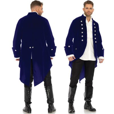 Long Blue Velvet Jacket - Colonial Halloween Costume
