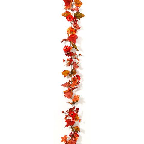 Silk Fall Daisy Maple Berry Garland