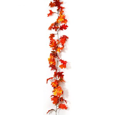 6 Foot Silk Oak Leaves Berries Acorns Garland