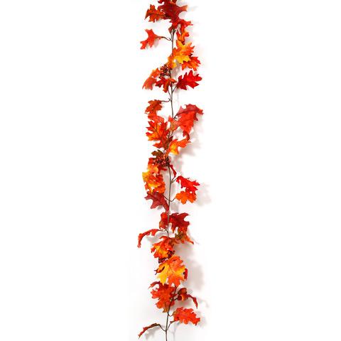 6 Foot Silk Oak Leaves Berries Acorns Garland