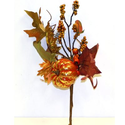 Fall Brushed Pumpkin Foliage Berries Pick