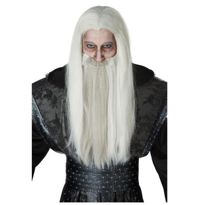 Gray Wizard Wig with Beard