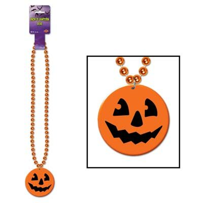 Beads Printed Jack O Lantern Medallion