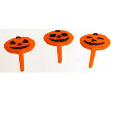 Plastic Flat Jack O Lantern Picks