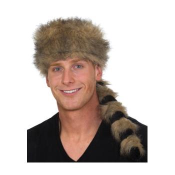Plush Coonskin Hat Striped Tail