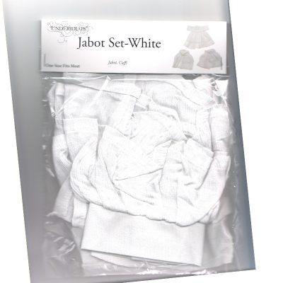 Costume White Fabric Jabot Cuffs Set