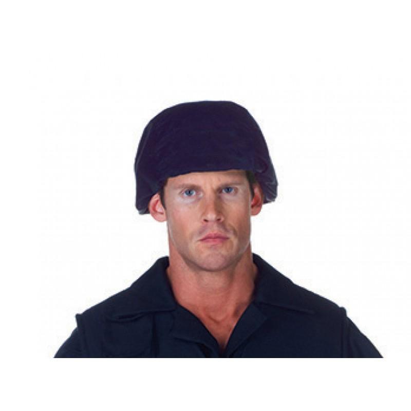 Black Fabric Covered Plastic SWAT Helmet Hat