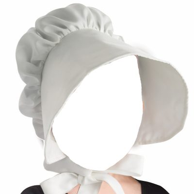 White Fabric Childs Bonnet Hat
