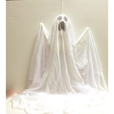 32 Inch White Fabric Hanging Ghost