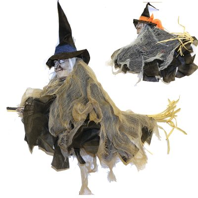 Hanging Fabric Witch on Broom