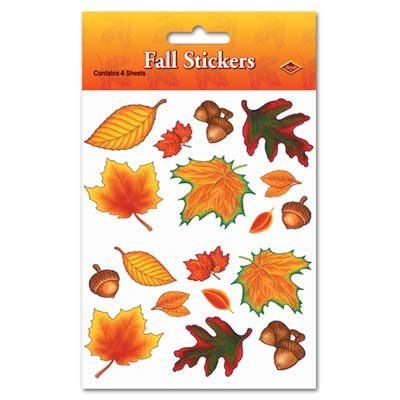 Fall Leaf Thanksgiving Pilgrim Turkey Stickers