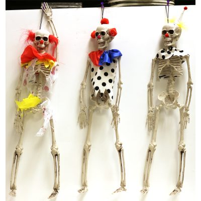 "Plastic Hanging Clown Skeleton come in 3 different styles. They are made of hard plastic. Jointed at the jaw, shoulders and hips and measure 16"" x 3""."