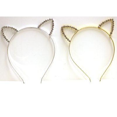 Costume Rhinestone Metal Cat Ears Headband