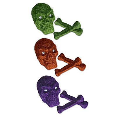 Glittered Plastic Skull and Bones