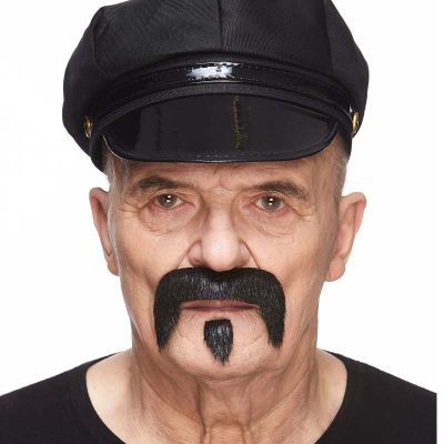 Black Costume Down-swept Mustache and Goatee Set