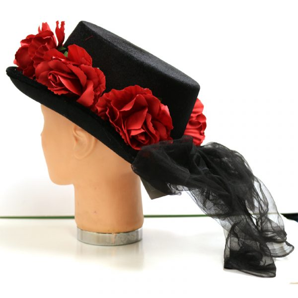 Black Fabric Top Hat with Red Roses