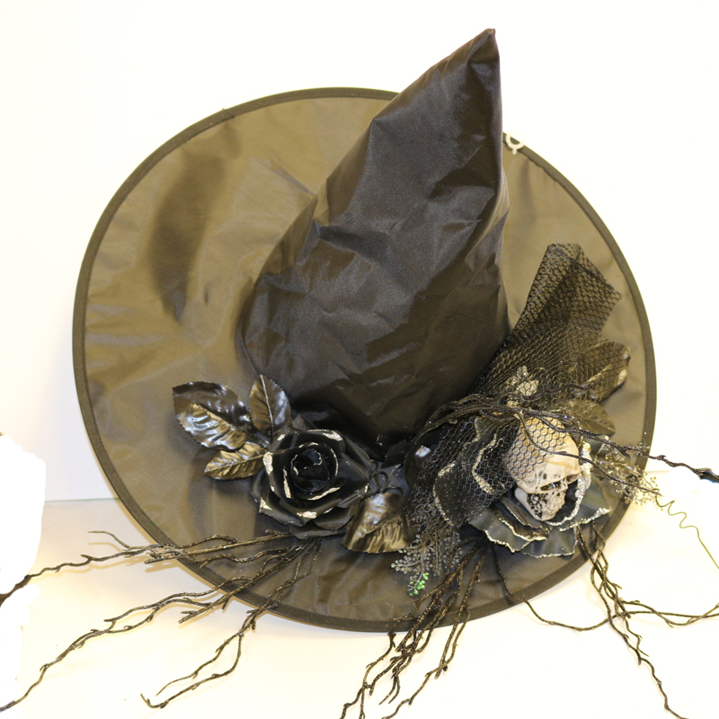 Glittered Black Satin Witch Hat with Skull Roses