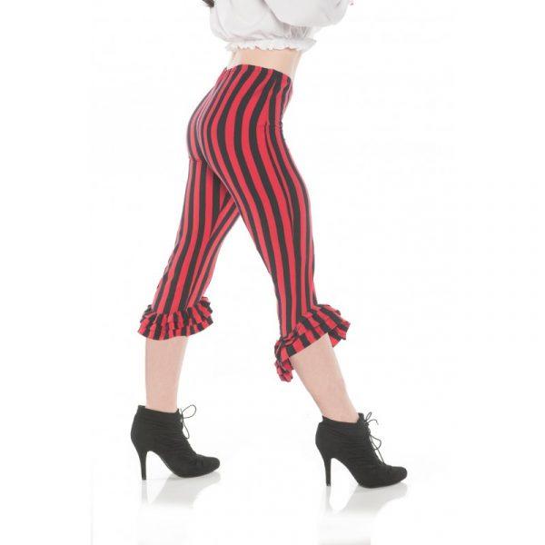 Red Black Striped Ruffled Leggings