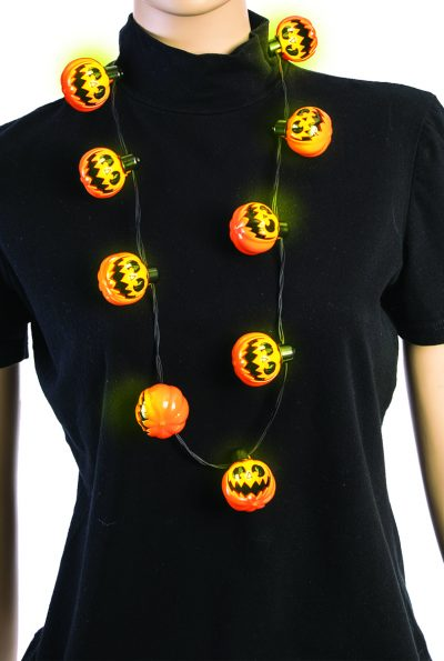 Costume Plastic Light Up Jack O Lantern Necklace