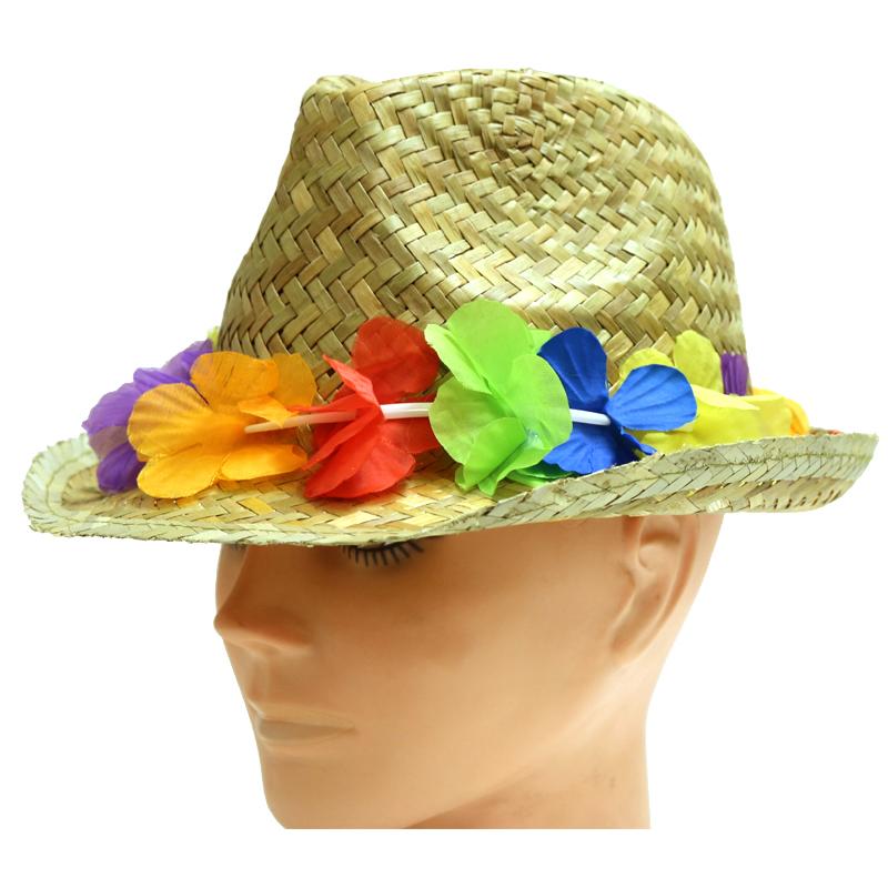 Natural Straw Fedora Hat with Silk Luau Band