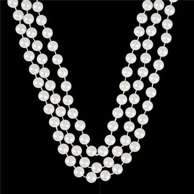 48 Inch White Round Pearl Bead Necklace