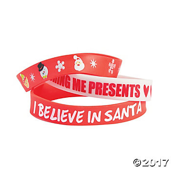 Christmas Printed Rubber Bracelets 12 Per Package
