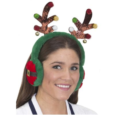Plush Glittered Antlers Headband w Ear Muffs