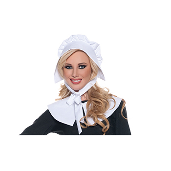 White Fabric Bonnet Hat w Ties