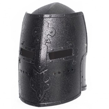 Plastic Medieval Knight Box Helmet - Black