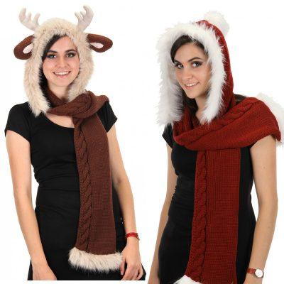 Santa Knitted Hood Reindeer Knitted Hood