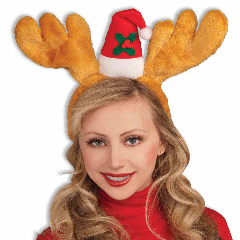 Plush Antlers with Santa Hat Headband
