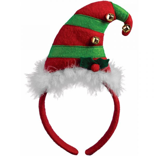 Fabric Red Green Striped Elf Hat Headband