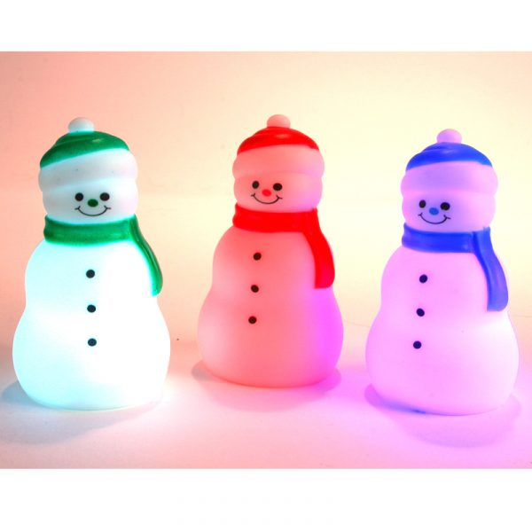 3 Inch Battery-Operated Color-Change Snowman Decoration