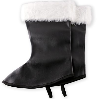 Santa Boot Tops Black w White Fur Trim