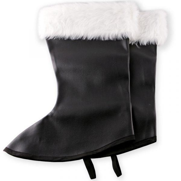 Santa Boot Tops Black w White Fur Trim