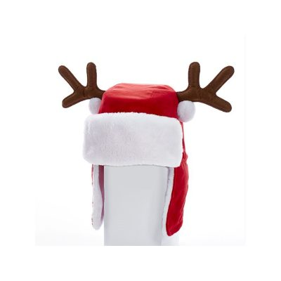 Santa Aviator Hat w Antlers - Adult Size