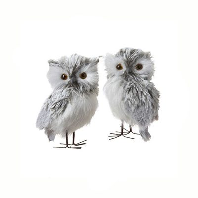 5 Inch Furry Gray Owl 2 Piece Ornament Set