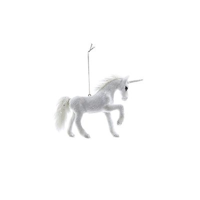 "6"" Furry Unicorn White Glittered Ornament"