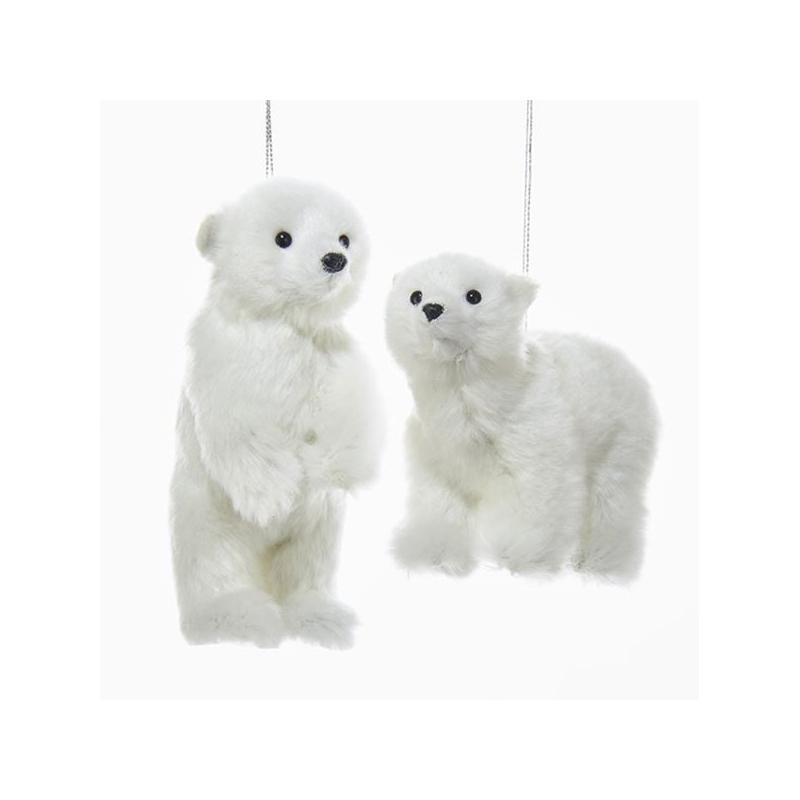 Furry White Polar Bear Ornament Christmas Tree Decoration